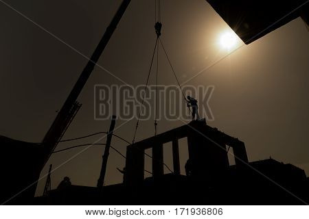 Silhouette background Building activity in prefabricated system.