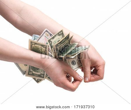 Human hands counting money isolated on white background