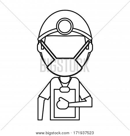 doctor professional surgery mask hat clipboard thin line vector illustration eps 10
