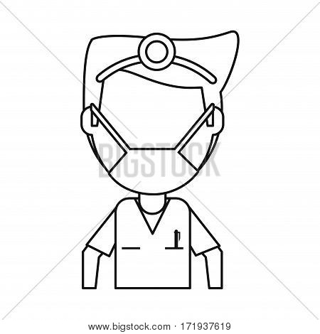 doctor specialist mask medical thin line vector illustration eps 10