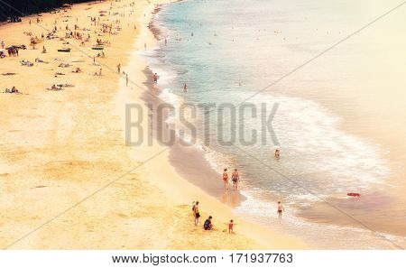 Panorama of Naithon sea public beach with people. Phuket Thailand
