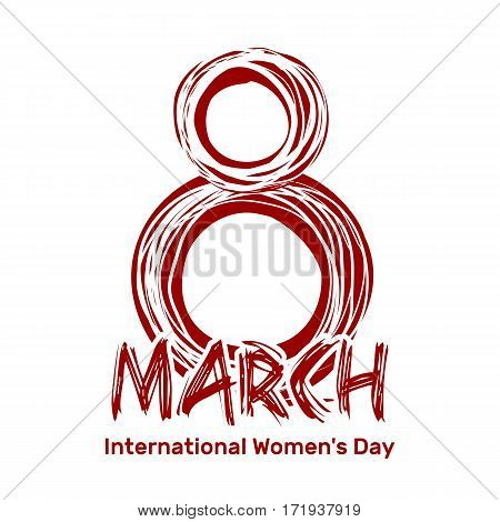 March 8. International Women's Day. Hand drawn scribble lettering.  Red sloppy inscription isolated on a white background. Vector design element for Women's Day