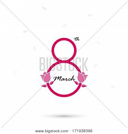 Creative 8 March logo vector design with international women's day icon. Women's day symbol. Minimalistic design for international women's day concept.Vector illustration