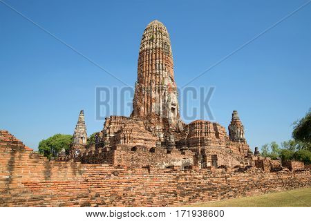 On the ruins of the Buddhist temple Wat Phra Ram. Ayutthaya, Thailand
