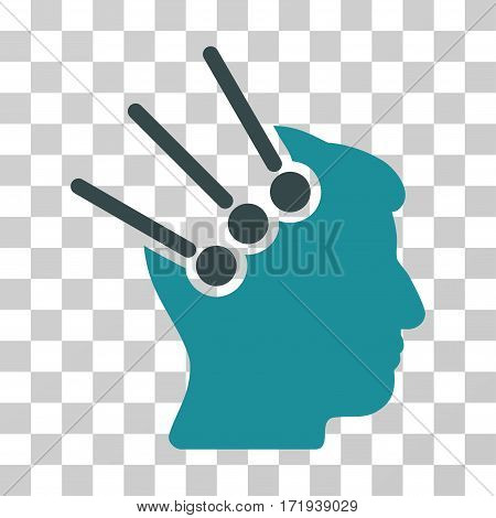Neural Interface Connectors vector pictogram. Illustration style is a flat iconic bicolor soft blue symbol on a transparent background.