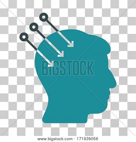 Neural Interface Connectors vector icon. Illustration style is a flat iconic bicolor soft blue symbol on a transparent background.