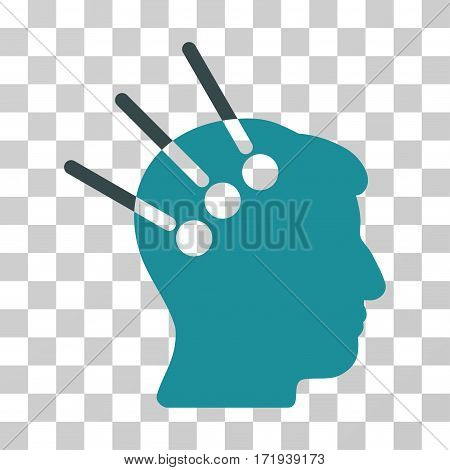 Neural Interface vector icon. Illustration style is a flat iconic bicolor soft blue symbol on a transparent background.