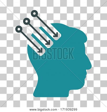 Neuro Interface vector pictograph. Illustration style is a flat iconic bicolor soft blue symbol on a transparent background.