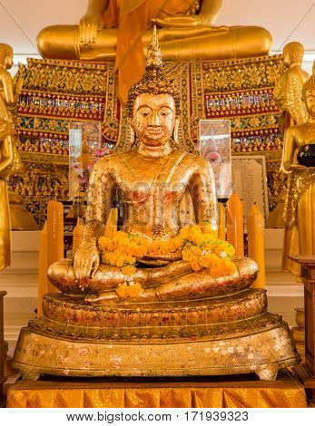 The buddha statue in temple a Thailand