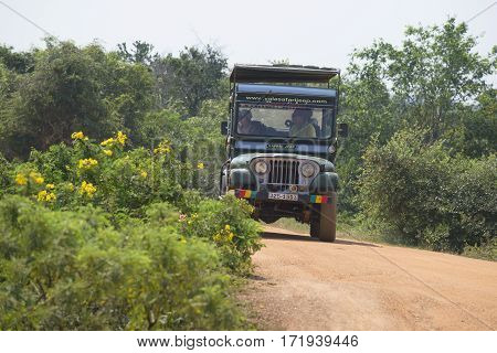 YALA, SRI LANKA - MARCH 25, 2015: Jeep with tourists on excursions to Yala national Park. Sri Lanka