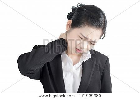 Acute Pain And Sore Throat Symptom In A Businesswoman Isolated On White Background. Clipping Path On