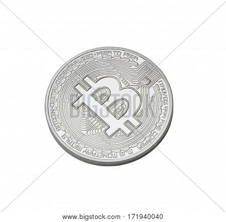 silver bitcoin isolated on white background. virtual money