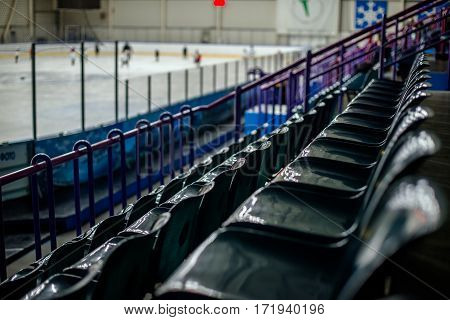 Plastic seat spectator stands for the ice hockey stadium