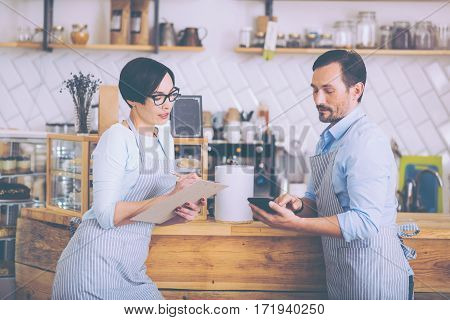 Little business. Pleasant involved couple discussing their ideas and standing near counter while running the cafe