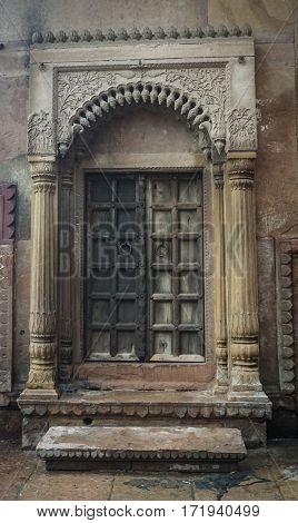 Ancient Wooden Door At The Old Building