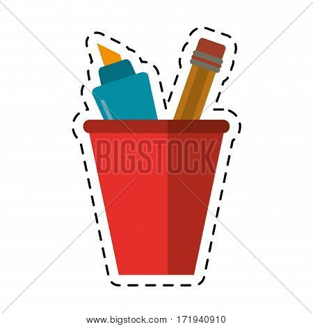 cartoon cup pencil school utensil vector ilustration eps 10