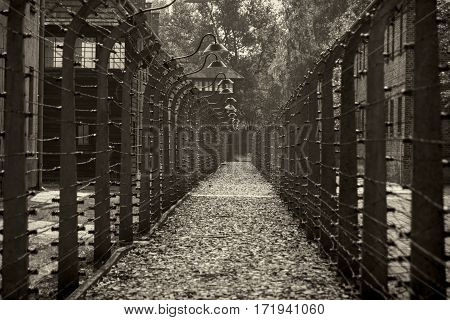 OSWIECIM POLAND - AUG 18: Electric fence in concentration camp Auschwitz I on August 18 2015 in Oswiecim Poland.