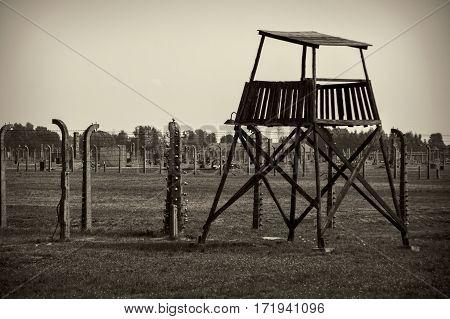 OSWIECIM POLAND - AUG 18: concentration camp Auschwitz Birkenau on August 18 2015 in Oswiecim Poland.