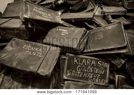 OSWIECIM POLAND - AUG 18: Names written on Suitcases in Auschwitz the biggest concentration camp in Europe on August 18 2015 in Oswiecim Poland.