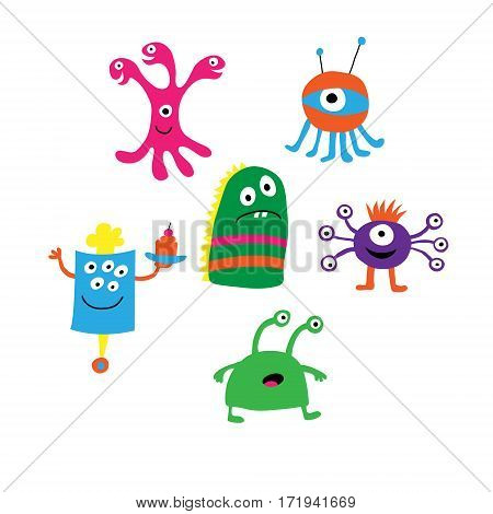 Set of a different monsters on a white background