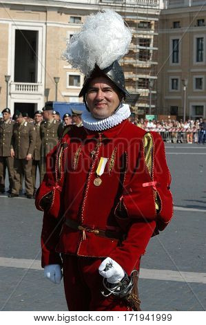 VATICAN - MAY 4: Opening of the celebration for the V° Centenary Suisse Guard Foundation. THE COMMANDANT OF SUISSE GUARDS Elmar Th. Maeder in Saint Peter Square in Vatican on 4 may 2006