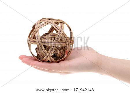 Asian traditional ball on hand solated on white background