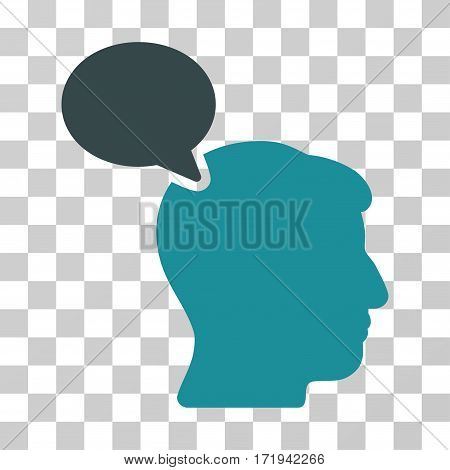 Person Opinion vector pictograph. Illustration style is a flat iconic bicolor soft blue symbol on a transparent background.