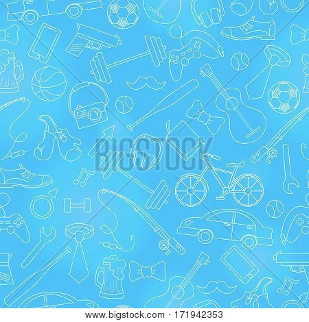 Seamless pattern on the theme of male Hobbies and habitssimple hand-drawn white contour icons on blue background