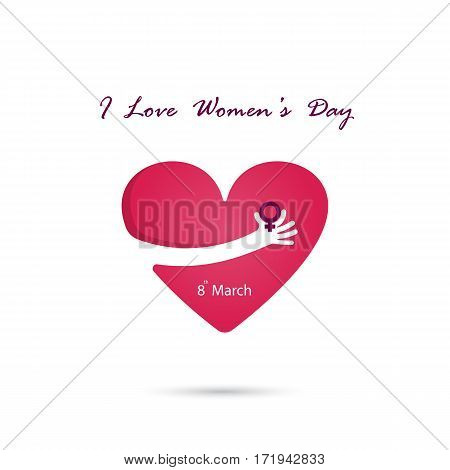 Hand and heart logo vector design with international women's day concept. Women's day symbol. Minimalistic design for international women's day symbol.Vector illustration