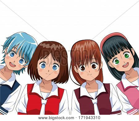 group anime girl manga vector illustration eps 10