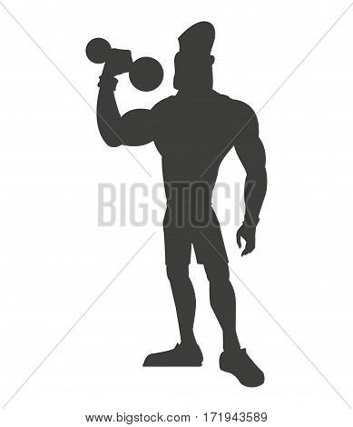 silhouette healthy man weight lifting vector illustration eps 10
