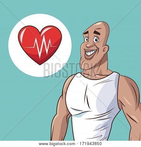 healthy man athletic heart beat icon vector illustration eps 10