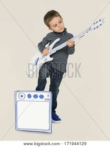 Little Boy Paper craft Guitar Concept