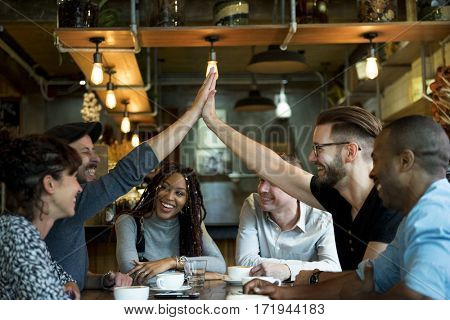 Diverse People Hands High Five Agreement