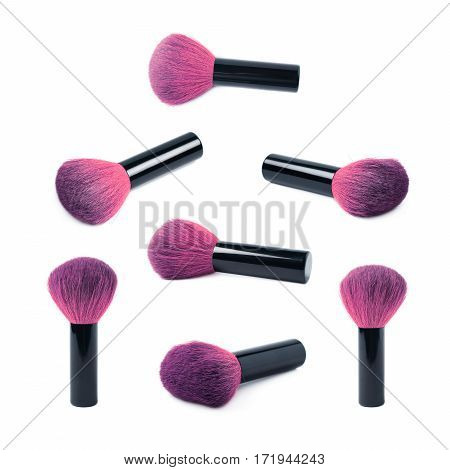 Kabuki mushroom makeup brush isolated over the white background, set of multiple different foreshortenings