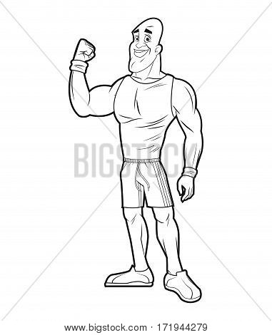 healthy man athletic strong arm sketch vector illustration eps 10