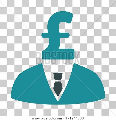 Pound Businessman vector pictogram. Illustration style is a flat iconic bicolor soft blue symbol on a transparent background.
