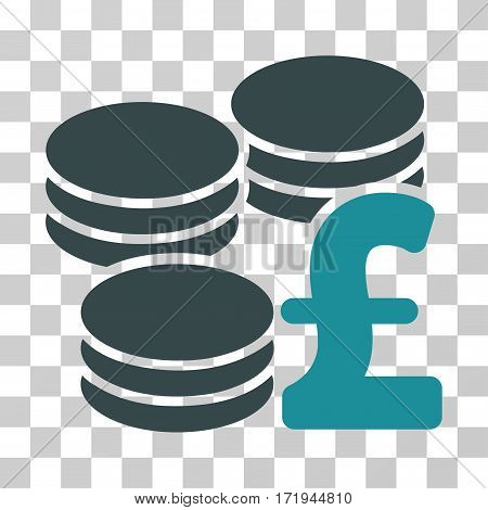 Pound Coins vector pictogram. Illustration style is a flat iconic bicolor soft blue symbol on a transparent background.