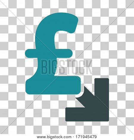 Pound Decrease vector pictograph. Illustration style is a flat iconic bicolor soft blue symbol on a transparent background.