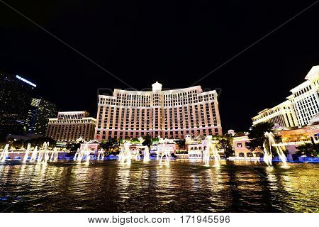LAS VEGAS, USA - Oct 10: Fountain show at Bellagio hotel and casino on Oct 10, 2016 in Las Vegas, USA. Las Vegas is one of the top tourist destinations in the world.