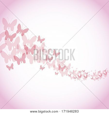 happy womens day poster pink butterfly background vector illustration eps 10