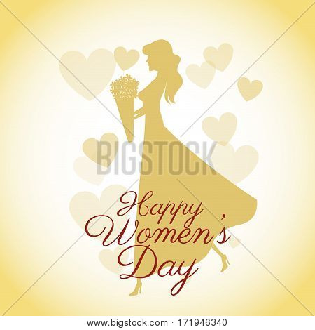 happy womens day card-silhouette girl yellow hearts vector illustration eps 10