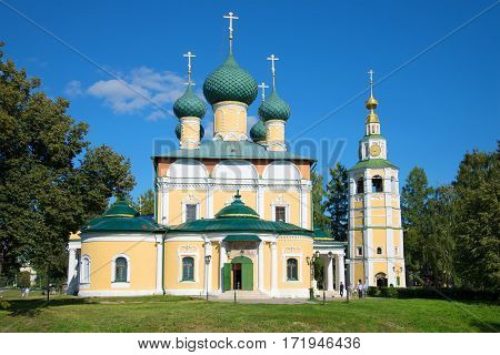 Transfiguration Cathedral close up in the sunny August afternoon. Uglich. Golden Ring of Russia