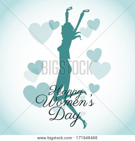 happy womens day card-silhouette girl blue hearts vector illustration eps 10
