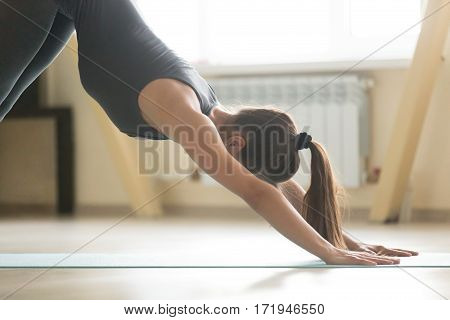 Young attractive woman practicing yoga, standing in adho mukha svanasana exercise, Downward facing dog pose, working out, wearing sportswear, grey tank top, pants, indoor, home interior, close up view