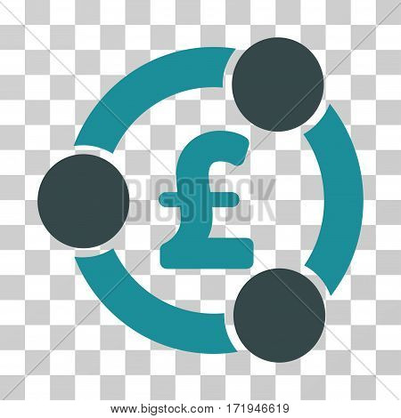 Pound Financial Collaboration vector icon. Illustration style is a flat iconic bicolor soft blue symbol on a transparent background.