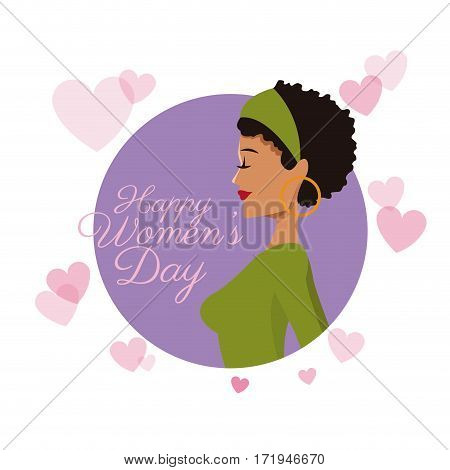 happy womens day card girl curly hair purple hearts image vector illustration eps 10