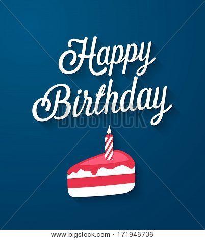 Happy Birthday flat greeting card. Vector illustration.