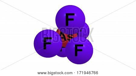 Arsenic pentafluoride is a chemical compound of arsenic and fluorine. The oxidation state of arsenic is 5. 3d illustration poster