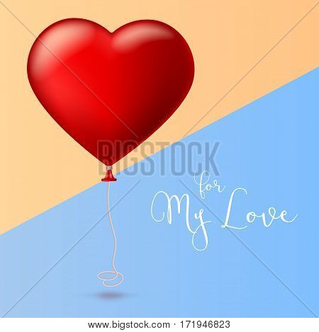 Bright red heart, the inflatable balloon in the shape of a realistic, big heart with tape, ribbon. Greeting card for your friends, loved ones with a bouncy ball in form heart on colored background.